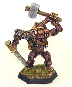 Citadel AD&D Bugbear miniature wielding hammer and sword