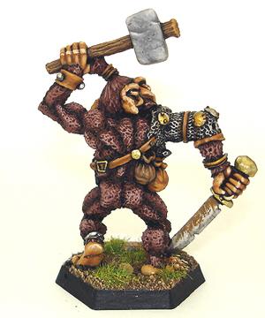 Citadel AD&D Bugbear miniature wielding hammer and sword